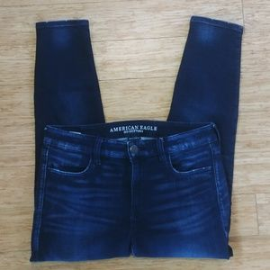 AE Super Stretch Mid-Rise Skinny Ankle Jeans Sz 10